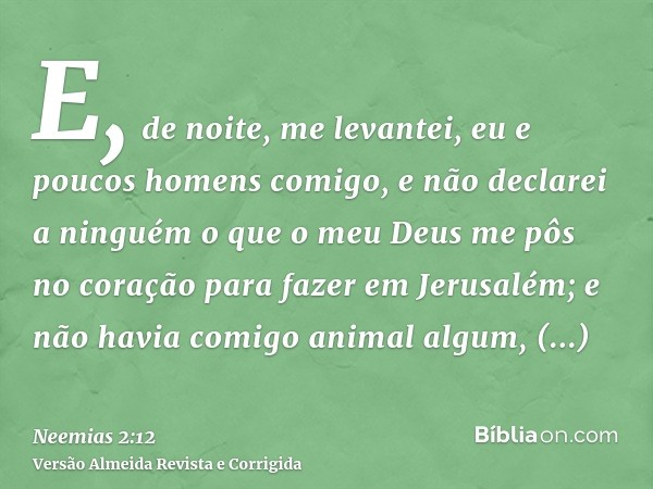 E, de noite, me levantei, eu e poucos homens comigo, e não declarei a ninguém o que o meu Deus me pôs no coração para fazer em Jerusalém; e não havia comigo ani