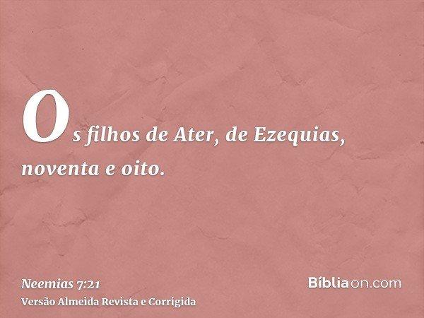 Os filhos de Ater, de Ezequias, noventa e oito.