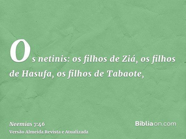 Os netinis: os filhos de Ziá, os filhos de Hasufa, os filhos de Tabaote,