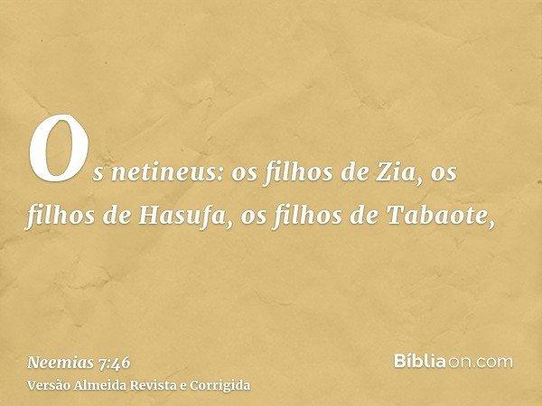 Os netineus: os filhos de Zia, os filhos de Hasufa, os filhos de Tabaote,