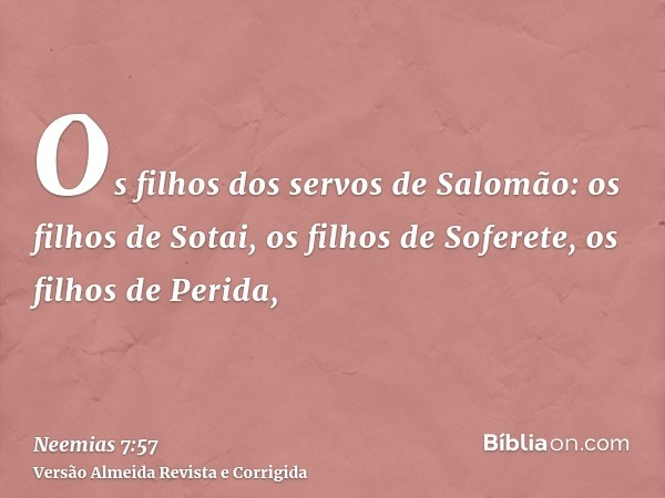 Os filhos dos servos de Salomão: os filhos de Sotai, os filhos de Soferete, os filhos de Perida,