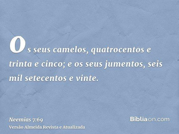 os seus camelos, quatrocentos e trinta e cinco; e os seus jumentos, seis mil setecentos e vinte.