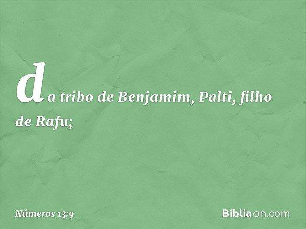 da tribo de Benjamim, Palti, filho de Rafu; -- Números 13:9