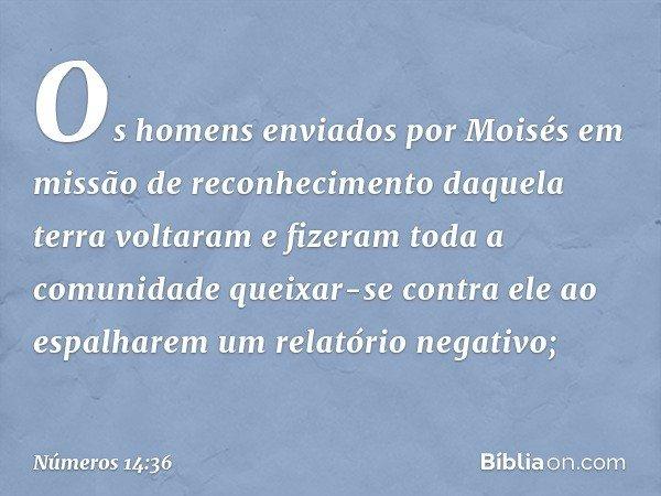 Os homens enviados por Moisés em missão de reconhecimento daquela terra voltaram e fizeram toda a comunidade queixar-se contra ele ao espalharem um relatório ne