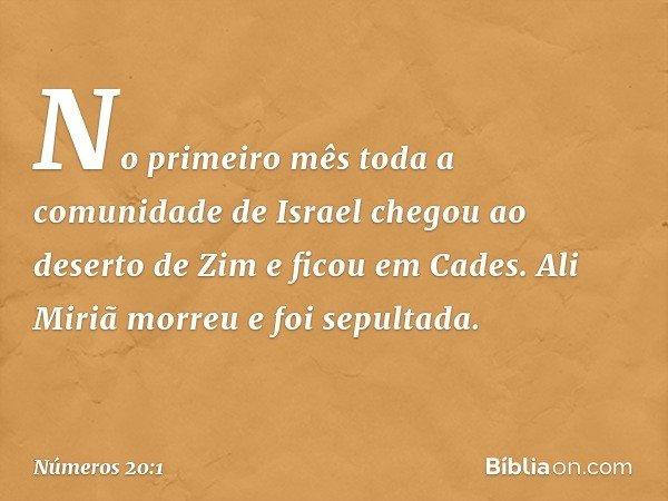 No primeiro mês toda a comunidade de Israel chegou ao deserto de Zim e ficou em Cades. Ali Miriã morreu e foi sepultada. -- Números 20:1