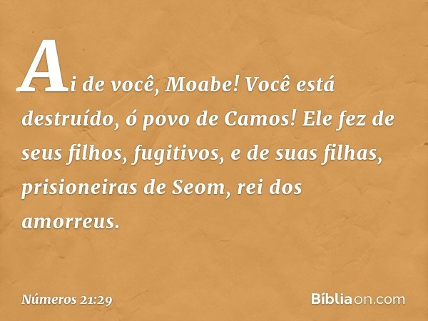 Ai de você, Moabe! Você está destruído, ó povo de Camos! Ele fez de seus filhos, fugitivos, e de suas filhas, prisioneiras de Seom, rei dos amorreus. -- Números