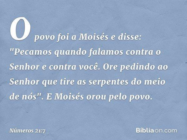 """O povo foi a Moisés e disse: """"Pecamos quando falamos contra o Senhor e contra você. Ore pedindo ao Senhor que tire as serpentes do meio de nós"""". E Moisés orou p"""