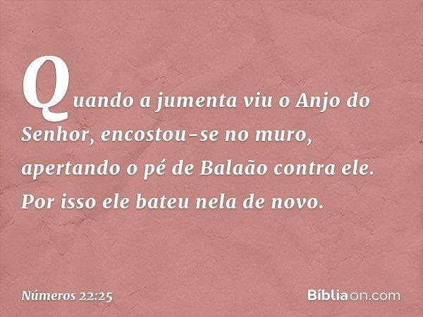 Quando a jumenta viu o Anjo do Senhor, encostou-se no muro, apertando o pé de Balaão contra ele. Por isso ele bateu nela de novo. -- Números 22:25
