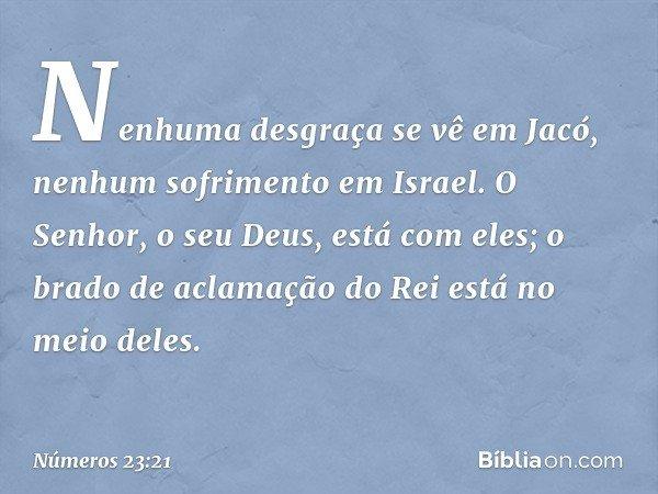 Nenhuma desgraça se vê em Jacó, nenhum sofrimento em Israel. O Senhor, o seu Deus, está com eles; o brado de aclamação do Rei está no meio deles. -- Números 23: