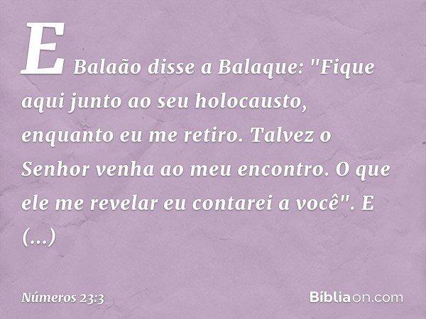 """E Balaão disse a Balaque: """"Fique aqui junto ao seu holocausto, enquanto eu me retiro. Talvez o Senhor venha ao meu encontro. O que ele me revelar eu contarei a"""
