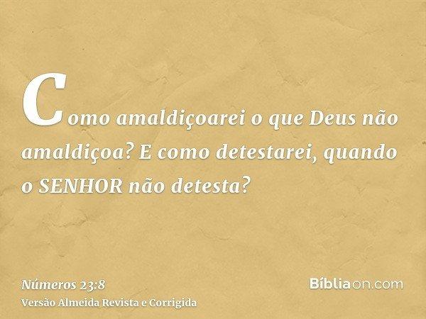 Como amaldiçoarei o que Deus não amaldiçoa? E como detestarei, quando o SENHOR não detesta?
