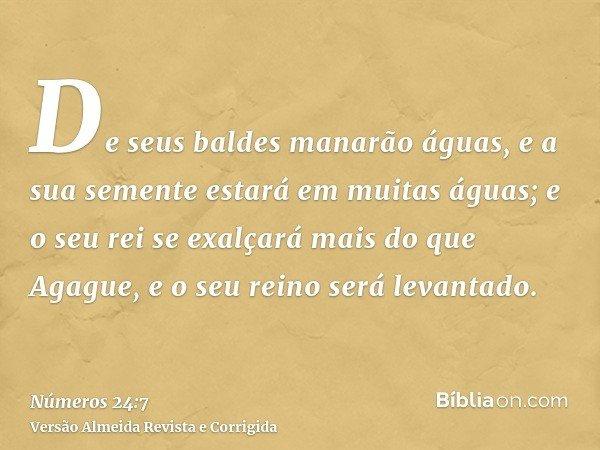 De seus baldes manarão águas, e a sua semente estará em muitas águas; e o seu rei se exalçará mais do que Agague, e o seu reino será levantado.