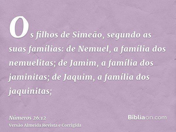 Os filhos de Simeão, segundo as suas famílias: de Nemuel, a família dos nemuelitas; de Jamim, a família dos jaminitas; de Jaquim, a família dos jaquinitas;
