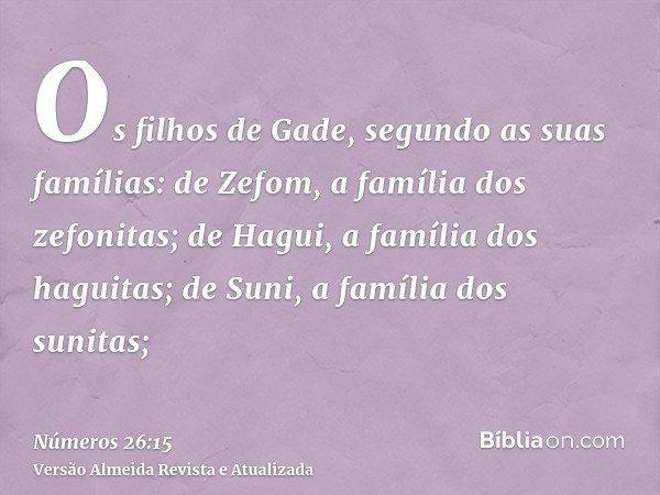 Os filhos de Gade, segundo as suas famílias: de Zefom, a família dos zefonitas; de Hagui, a família dos haguitas; de Suni, a família dos sunitas;