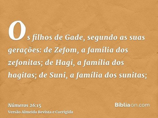 Os filhos de Gade, segundo as suas gerações: de Zefom, a família dos zefonitas; de Hagi, a família dos hagitas; de Suni, a família dos sunitas;