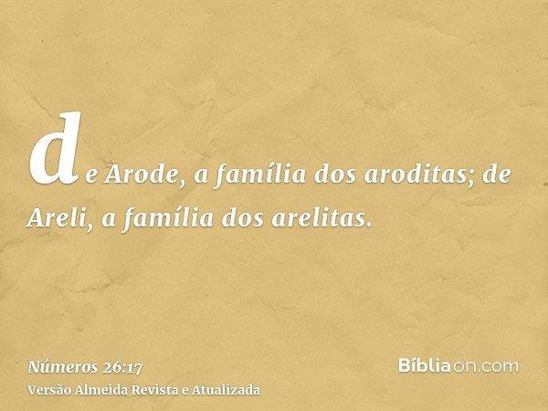 de Arode, a família dos aroditas; de Areli, a família dos arelitas.