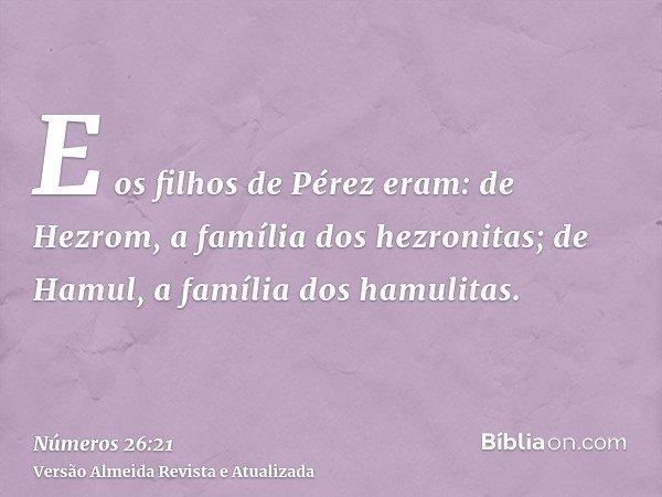 E os filhos de Pérez eram: de Hezrom, a família dos hezronitas; de Hamul, a família dos hamulitas.