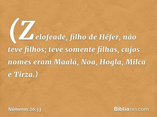 (Zelofeade, filho de Héfer, não teve filhos; teve somente filhas, cujos nomes eram Maalá, Noa, Hogla, Milca e Tirza.) -- Números 26:33