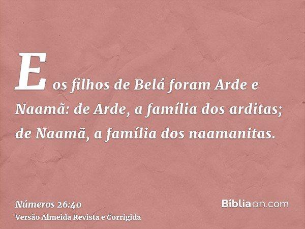 E os filhos de Belá foram Arde e Naamã: de Arde, a família dos arditas; de Naamã, a família dos naamanitas.