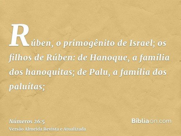 Rúben, o primogênito de Israel; os filhos de Rúben: de Hanoque, a família dos hanoquitas; de Palu, a família dos paluítas;