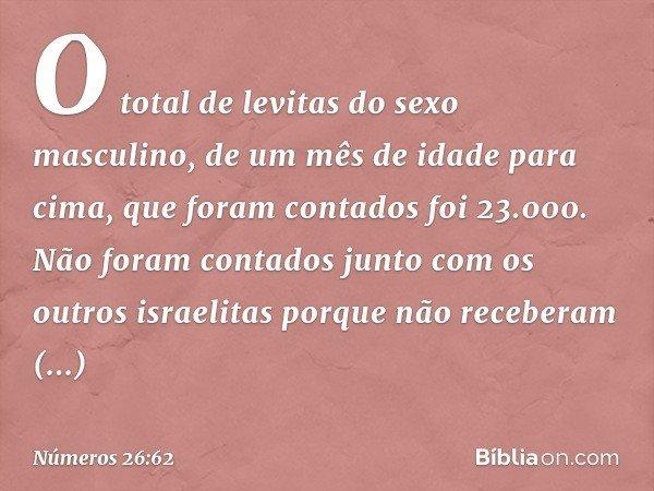 O total de levitas do sexo masculino, de um mês de idade para cima, que foram contados foi 23.000. Não foram contados junto com os outros israelitas porque não