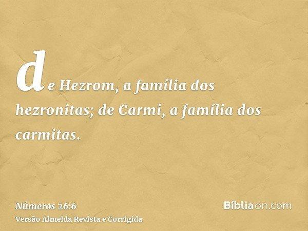 de Hezrom, a família dos hezronitas; de Carmi, a família dos carmitas.
