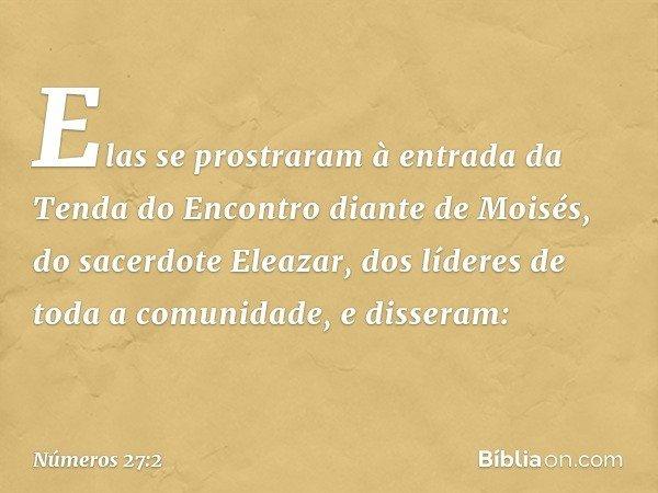 Elas se prostraram à entrada da Tenda do Encontro diante de Moisés, do sacerdote Eleazar, dos líderes de toda a comunidade, e disseram: -- Números 27:2