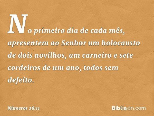 """""""No primeiro dia de cada mês, apresentem ao Senhor um holocausto de dois novilhos, um carneiro e sete cordeiros de um ano, todos sem defeito. -- Números 28:11"""