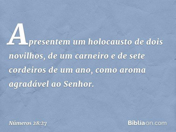 Apresentem um holocausto de dois novilhos, de um carneiro e de sete cordeiros de um ano, como aroma agradável ao Senhor. -- Números 28:27