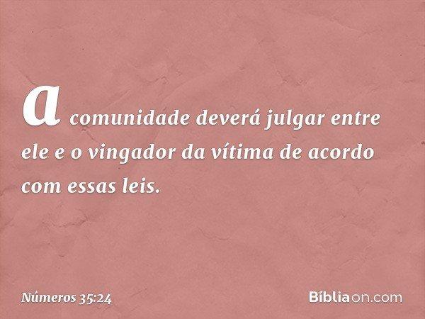 a comunidade deverá julgar entre ele e o vingador da vítima de acordo com essas leis. -- Números 35:24