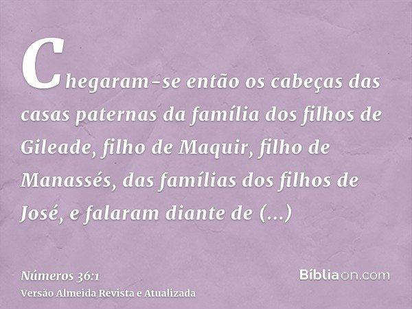 Chegaram-se então os cabeças das casas paternas da família dos filhos de Gileade, filho de Maquir, filho de Manassés, das famílias dos filhos de José, e falaram