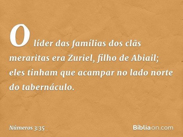 O líder das famílias dos clãs meraritas era Zuriel, filho de Abiail; eles tinham que acampar no lado norte do tabernáculo. -- Números 3:35