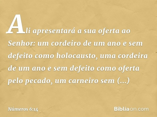 Ali apresentará a sua oferta ao Senhor: um cordeiro de um ano e sem defeito como holocausto, uma cordeira de um ano e sem defeito como oferta pelo pecado, um carn