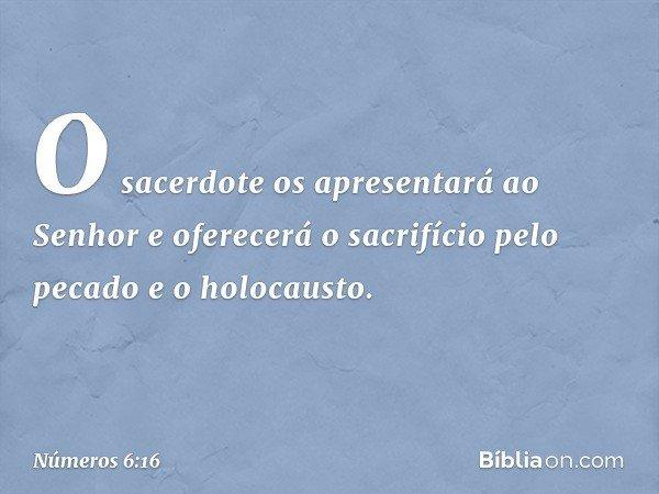 """""""O sacerdote os apresentará ao Senhor e oferecerá o sacrifício pelo pecado e o holocausto. -- Números 6:16"""