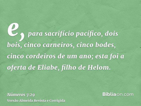e, para sacrifício pacífico, dois bois, cinco carneiros, cinco bodes, cinco cordeiros de um ano; esta foi a oferta de Eliabe, filho de Helom.