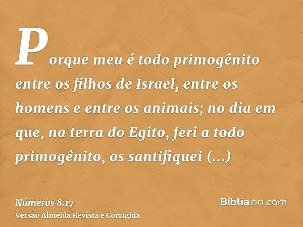 Porque meu é todo primogênito entre os filhos de Israel, entre os homens e entre os animais; no dia em que, na terra do Egito, feri a todo primogênito, os santi