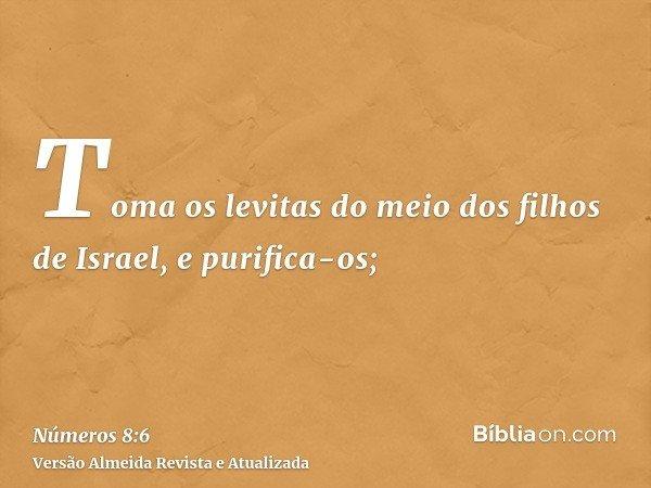Toma os levitas do meio dos filhos de Israel, e purifica-os;