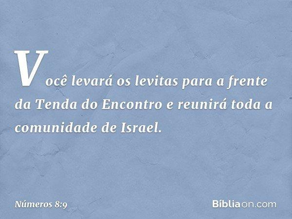 Você levará os levitas para a frente da Tenda do Encontro e reunirá toda a comunidade de Israel. -- Números 8:9