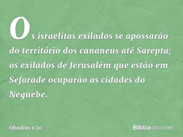 Os israelitas exilados se apossarão do território dos cananeus até Sarepta; os exilados de Jerusalém que estão em Sefarade ocuparão as cidades do Neguebe. -- Ob