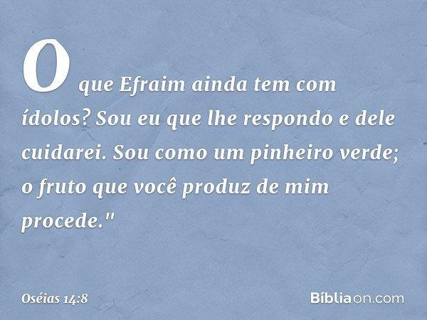 """O que Efraim ainda tem com ídolos? Sou eu que lhe respondo e dele cuidarei. Sou como um pinheiro verde; o fruto que você produz de mim procede."""" -- Oséias 14:8"""