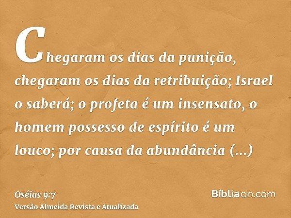 Chegaram os dias da punição, chegaram os dias da retribuição; Israel o saberá; o profeta é um insensato, o homem possesso de espírito é um louco; por causa da a