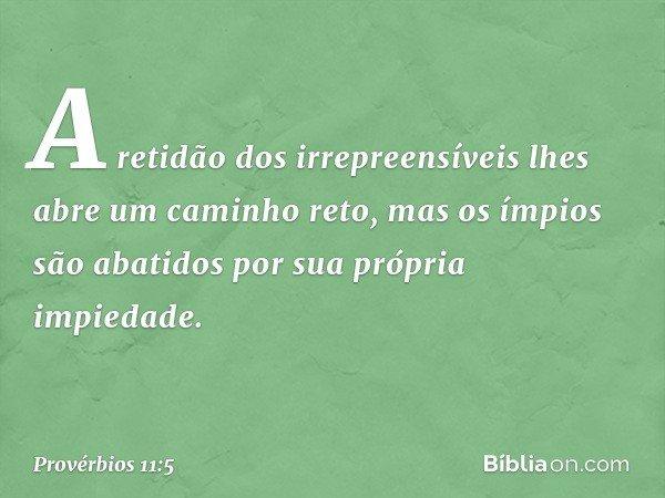 A retidão dos irrepreensíveis lhes abre um caminho reto, mas os ímpios são abatidos por sua própria impiedade. -- Provérbios 11:5