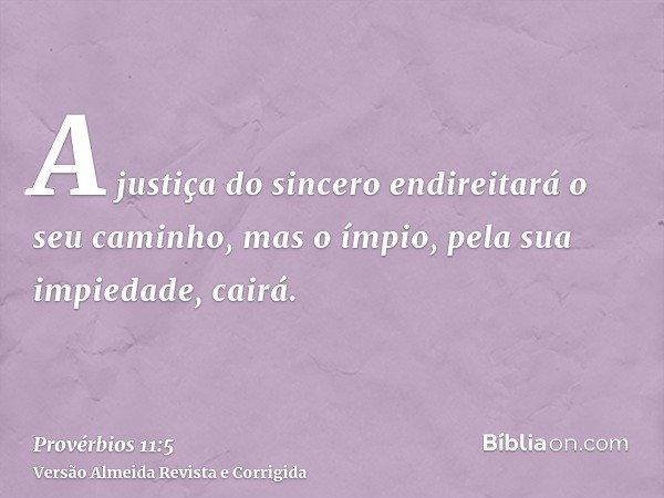 A justiça do sincero endireitará o seu caminho, mas o ímpio, pela sua impiedade, cairá.