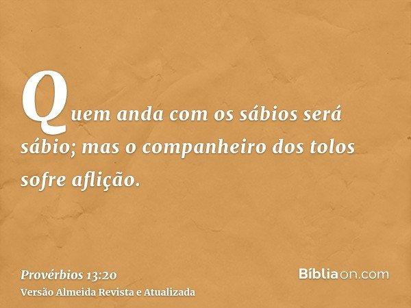 Quem anda com os sábios será sábio; mas o companheiro dos tolos sofre aflição.