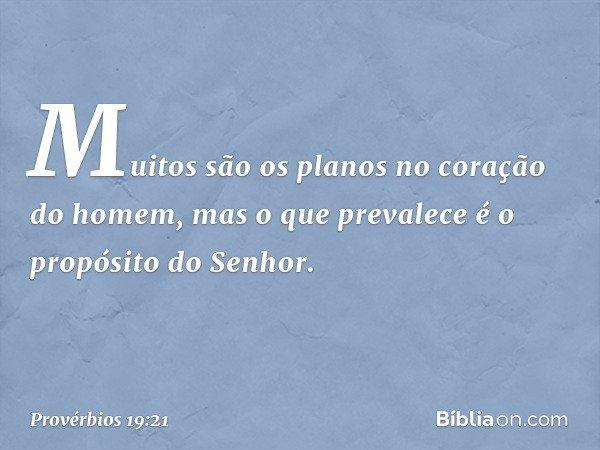 Muitos são os planos no coração do homem, mas o que prevalece é o propósito do Senhor. -- Provérbios 19:21