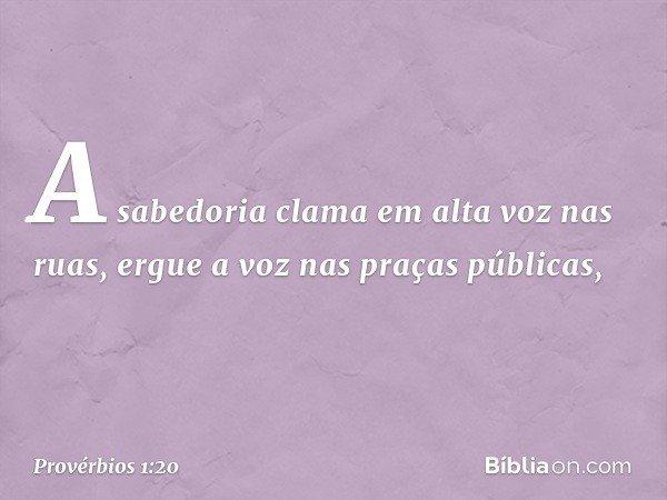 A sabedoria clama em alta voz nas ruas, ergue a voz nas praças públicas, -- Provérbios 1:20