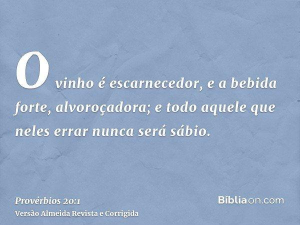 O vinho é escarnecedor, e a bebida forte, alvoroçadora; e todo aquele que neles errar nunca será sábio.