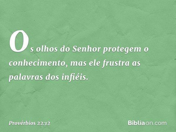 Os olhos do Senhor protegem o conhecimento, mas ele frustra as palavras dos infiéis. -- Provérbios 22:12