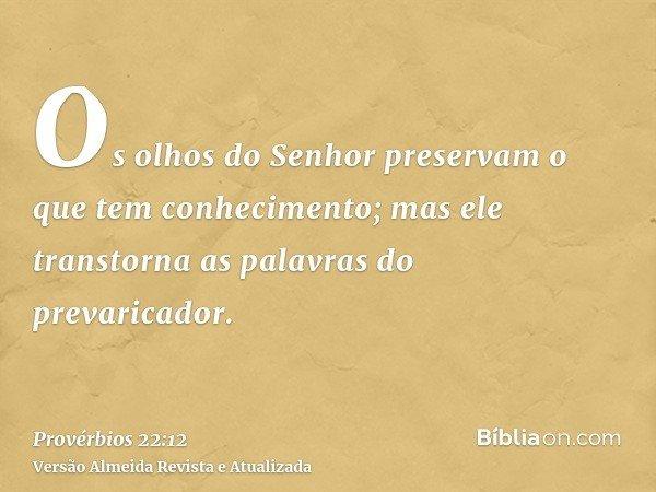 Os olhos do Senhor preservam o que tem conhecimento; mas ele transtorna as palavras do prevaricador.