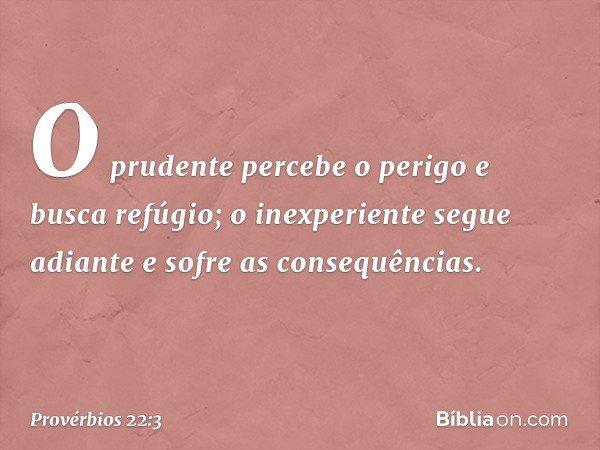 O prudente percebe o perigo e busca refúgio; o inexperiente segue adiante e sofre as consequências. -- Provérbios 22:3